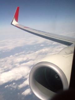 機上にて コナンはあの翼の上を